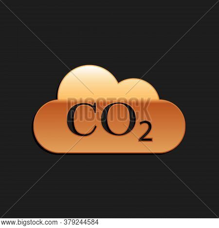 Gold Co2 Emissions In Cloud Icon Isolated On Black Background. Carbon Dioxide Formula Symbol, Smog P