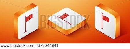 Isometric Flag Of European Union Icon Isolated On Orange Background. Eu Circle Symbol. Waving Eu Fla