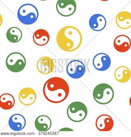 Color Yin Yang Symbol Of Harmony And Balance Icon Isolated Seamless Pattern On White Background. Vec