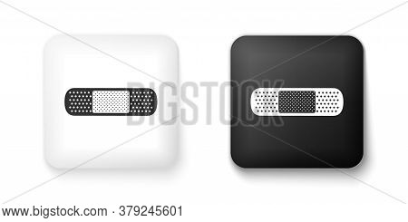 Black And White Bandage Plaster Icon Isolated On White Background. Medical Plaster, Adhesive Bandage