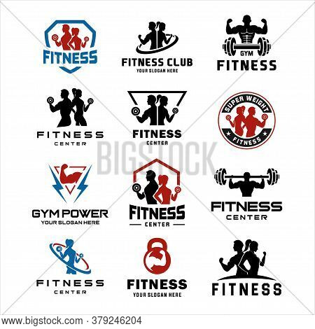 Set Of Fitness Center Logo . Sport And Fitness Logo Design . Gym Logo Icon Design Vector Stock, Fitn