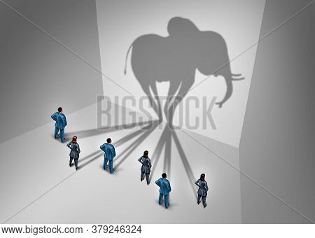 Elephant In The Room Concept And Obvious Problem As A Group Of Business People Casting A Shadow Shap