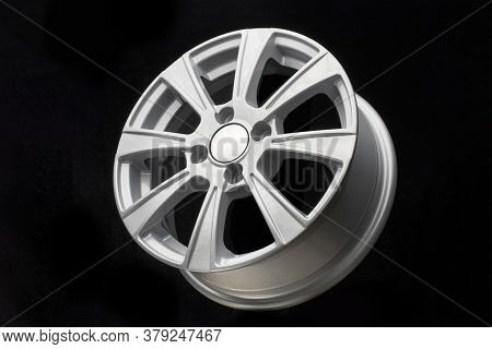 Silver Alloy Rim On Black Background Close Up