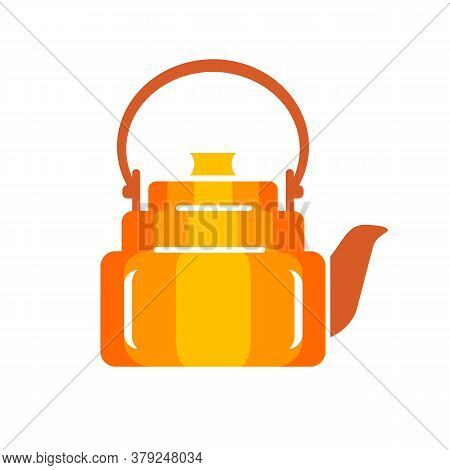 Teapot Steel Vector Icon Flat Style. Orange Kettle On Isolated Background. Warm Comfort In Your Home