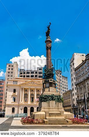 Monument Of Immortal Glory To The Founders Of Sao Paulo At Pateo Do Collegio In Sao Paulo - Brazil