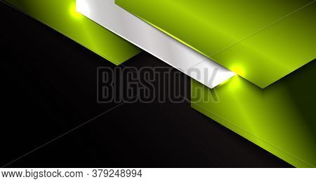 Banner Web Template Abstract Green And Silver Metallic Metal Geometric Overlapping Layer On Black Ba