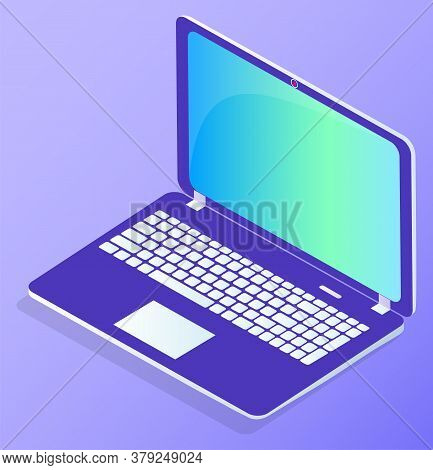 Datacenter Pc Vector, Isolated Laptop With Keyboard And Touchpad. Modern Technologies And Database S