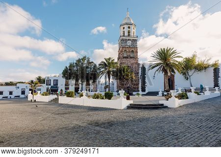 July 29, 2020. Lanzarote, Spain. The Old Architecture Of City Of Teguise With Church.