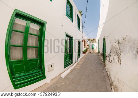 July 29, 2020. Lanzarote, Spain. The Old Architecture Of Houses In Haria Town
