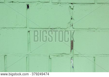 Abstract Green Color Brick Wall Texture For Background. Textured Background Illustration. Abstract W