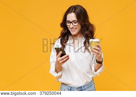 Smiling Young Business Woman In White Shirt Glasses Isolated On Yellow Background. Achievement Caree