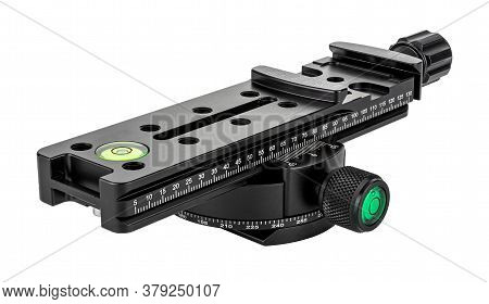 Quick Release Nodal Slide Rail Mounted On Rotary Panoramic Tripod Head Isolated On White Background.