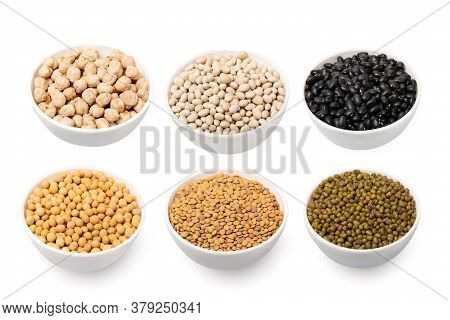 Set Of Bowls With Different Cereals Isolated On White Background