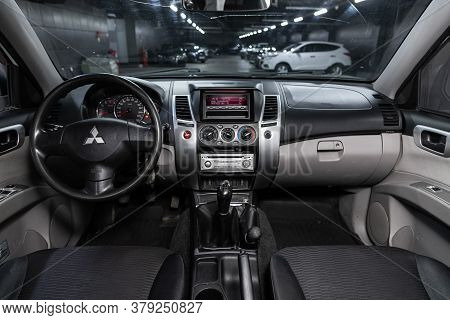 Novosibirsk/ Russia - July 26 2020: Mitsubushi Pajero Sport, Close-up Of The Dashboard, Player, Stee