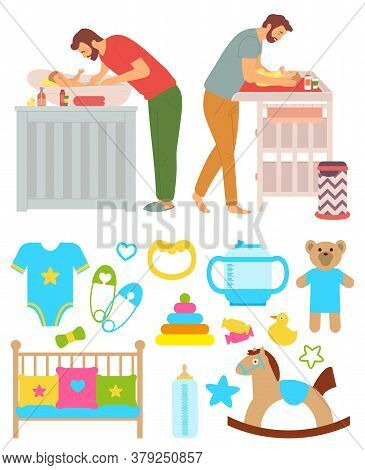 Father Caring For Child Vector, Changing Diapers And Washing, Hygiene Of Child, Isolated Set Of Body