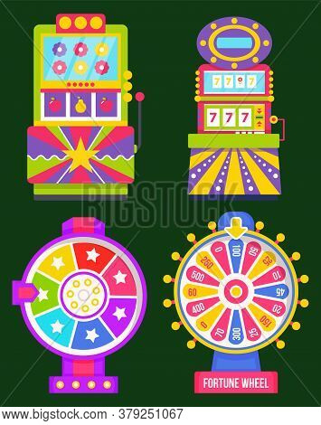Machinery For Playing And Gambling Vector, Isolated Set Of Game Machine Flat Style. Arcade Gambling