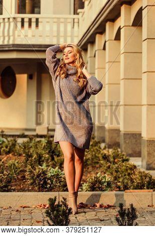 Enjoy Softness. Blonde Girl Make Up Face Fall Outfit. Knitwear Concept. Cashmere Woolen Sweater. War