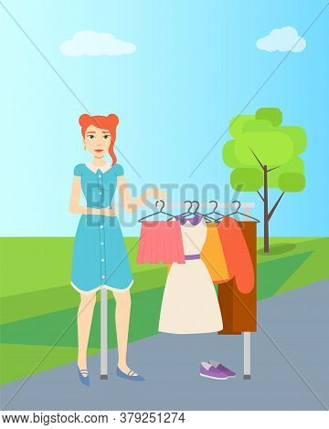 Garage Sale, Girl Selling Clothes On Racks At Countryside Vector. Cheap Clothing, Second Hand Garmen