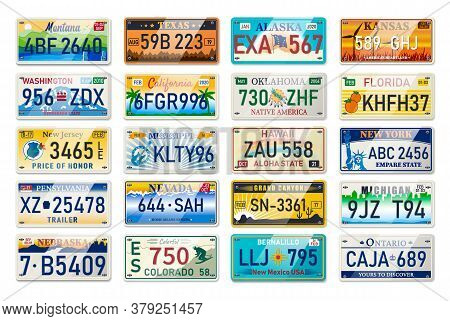 Auto Plate And Car Numbers Set Of Vehicle Registration In Usa States. Car Plates. Vehicle License Nu
