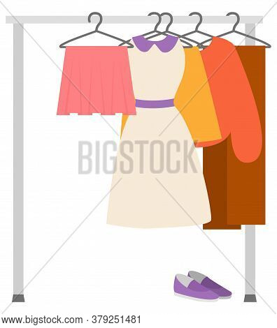 Wardrobe Sale, Clothes Hanger, Skirt And Dress, Sweater And Trousers, Shoes Sell. Second Hand Store,