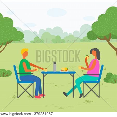 People Eating By Table In Park Vector, Flat Style Character Having Meal In Forest. Picnic For Two Pe