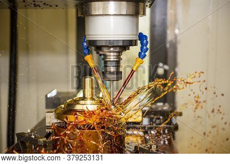 The Cnc Milling Machine Cutting The Shell Mold Parts By Solid End Mill Tools. The Mold And Die Manuf