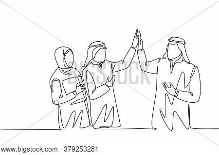 One Single Line Drawing Of Young Muslim Employees Giving High Five Gesture To Friends. Saudi Arabian