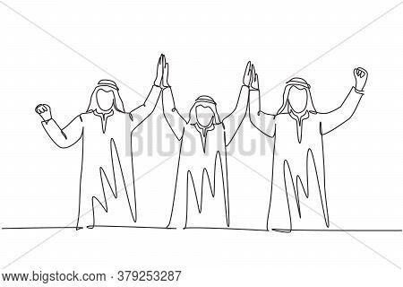 One Single Line Drawing Of Young Muslim Marketing Team Raise Hand Together. Saudi Arabian Businessme