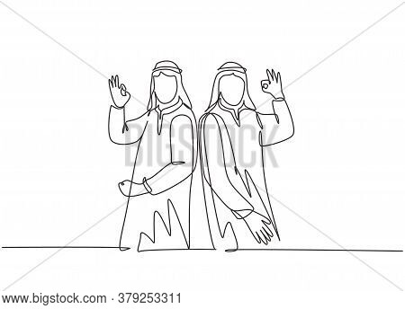 One Single Line Drawing Of Young Happy Muslim Employees Give Ok Alright Hands Gesture. Saudi Arabian