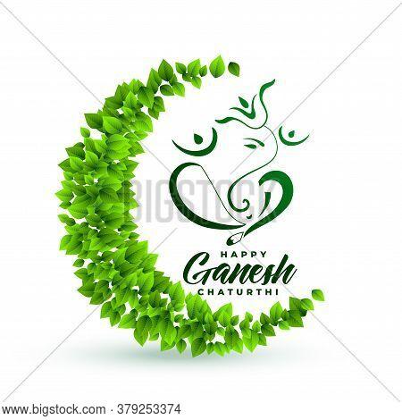 Ecofriendly Lord Ganesha Leaves Background Vector Design Illustration
