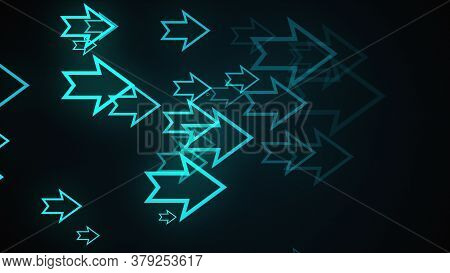 Computer Generated Abstract Background. Lots Of Outline Neon Arrows, 3d Rendering