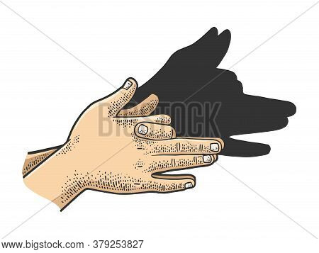 Dog Shadow By Hands Color Sketch Engraving Vector Illustration. T-shirt Apparel Print Design. Scratc