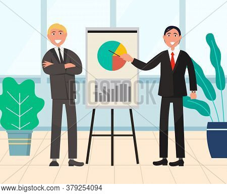 Presentation Business Seminar Vector, Smiling Characters Showing Diagram With Segments. Partners Pre