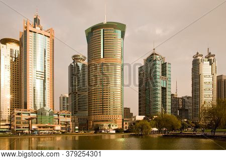 Skyline Of Modern Office Buildings At Lujiazui Financial District From Central Greenfield, Pudong, S