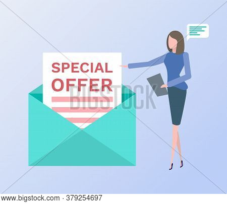 Special Offer Vector, Woman With Clipboard And Chatting Box Thought Bubble, Envelope Letter With Pro