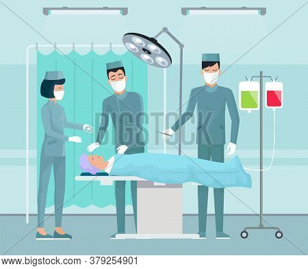 Team Of Doctors, Medical Staff, Surgeon With Scalpel, Nurse In Operating Room. Patient Lying On Tabl