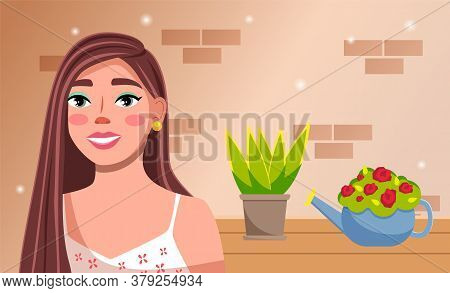 Young Pretty Girl With Long Hair Is Standing Near A Table With Home Plants In Flower Pots Against A