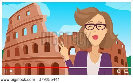 Concept Of Videoplayer Interface. Young Woman Travel To Rome. Cheerful Smiling Girl At Coliseum Back