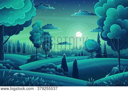 Summer Field Landscape. Background Of Italian Countryside. Nature Hills Fields Night Sky Clouds And