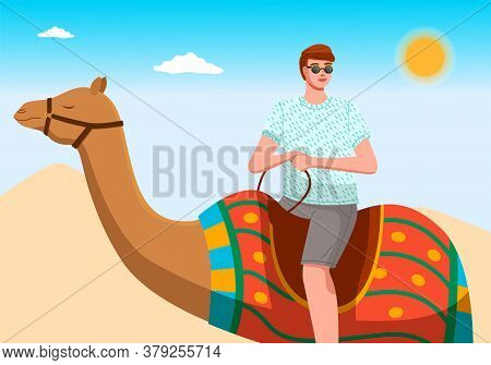 Male Tourist Rides Exotic Camel In The Desert. Travelling To Hot Countries. Man On The Camel Poses F