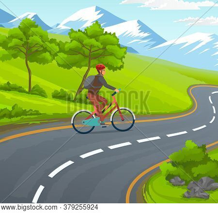 Traveler In Protective Helmet Riding At Bicycle At Asphalt Winding Road. Man Traveling Alone With Ba