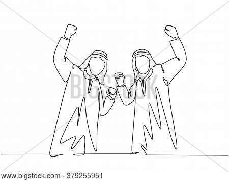 One Single Line Drawing Of Young Happy Muslim Employees Celebrate Their Job Promotion. Saudi Arabian