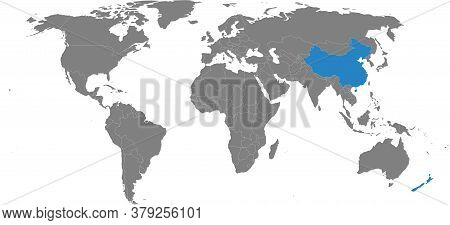 New Zealand, China Countries Isolated On World Map. Gray Background. Business Concepts, Diplomatic,