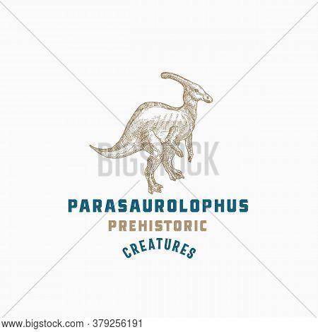 Prehistoric Creature Dinosaur Abstract Sign, Symbol Or Logo Template. Hand Drawn Parasaurolophus Rep