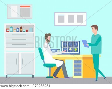 Concept Of Magnetic Resosnance Imaging Of Brain. Doctor Or Therapist Sitting At Table In Medical Off