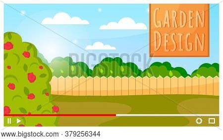 Illustration Of A Garden Design. Garden With A Flowering Tree, Trees Behind The Fence, Field, Lawn.