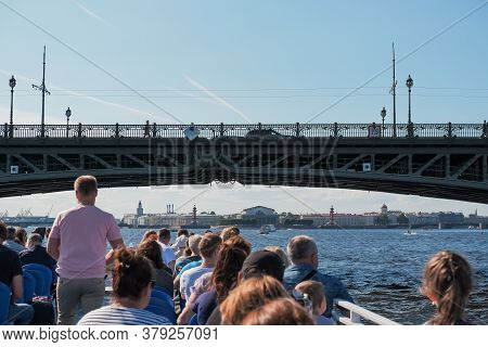 Saint Petersburg, Russia-june 23, 2020. Tourist Boat Floating On The River.boat Trips On The Rivers