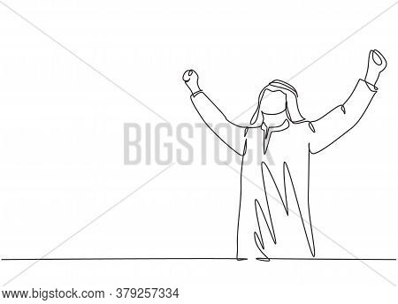 One Continuous Line Drawing Of Young Happy Muslim Business Man Raise Hands To The Air Celebrate Succ