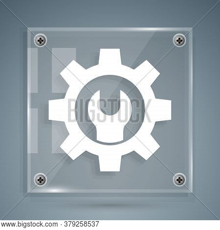 White Wrench Spanner And Gear Icon Isolated On Grey Background. Adjusting, Service, Setting, Mainten
