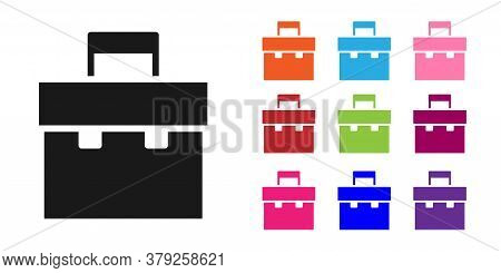 Black Briefcase Icon Isolated On White Background. Business Case Sign. Business Portfolio. Set Icons